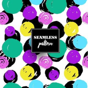 Colorful abstract seamless pattern with circular elements