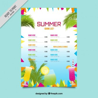 Colorful abstract summer drink list template