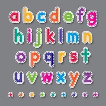 Colorful alphabet with dashed lines