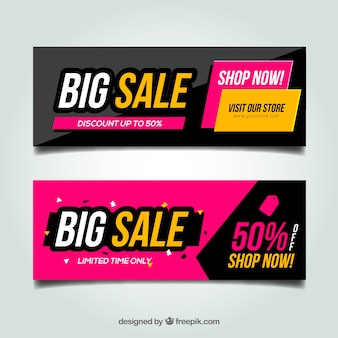 Colorful and abstract discount banners