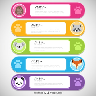 Colorful and cute banners with animals