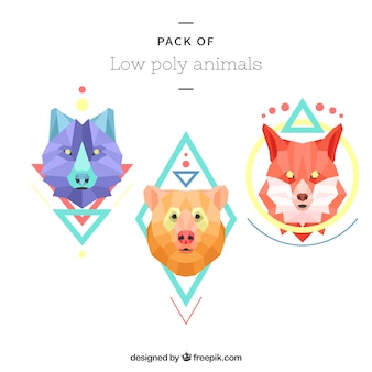 Colorful animal set in low poly style