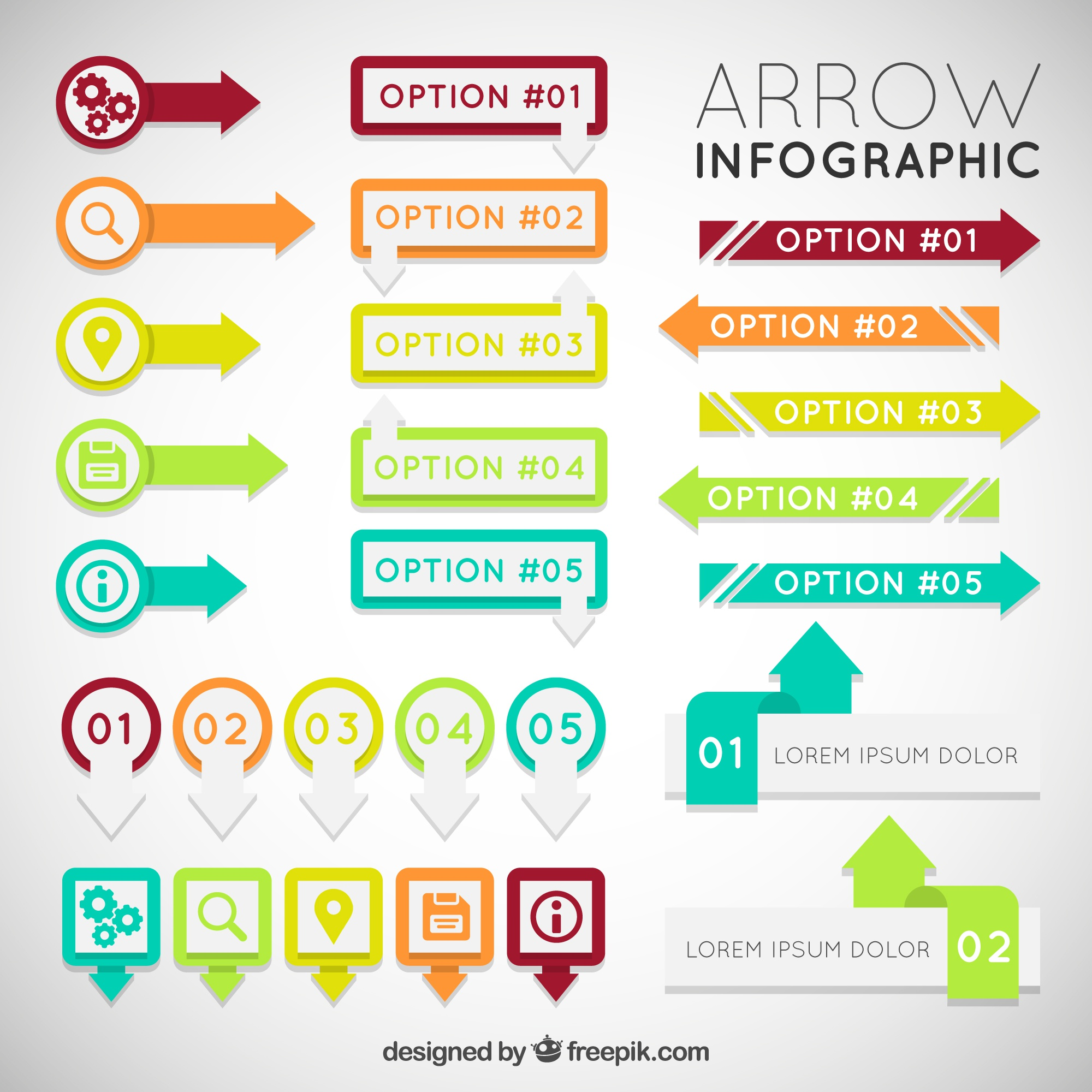 Colorful arrow infographic set