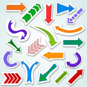 Colorful arrows with different designs