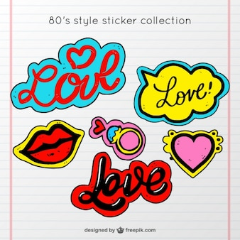 Colorful assortment of love stickers in vintage style