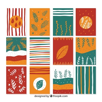 Colorful autumn card collection