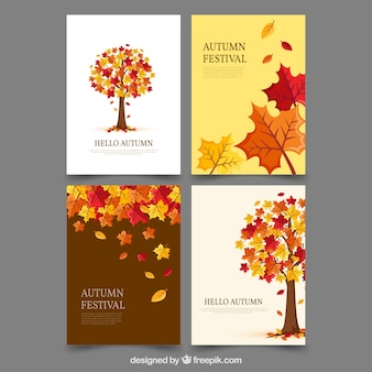 Colorful autumnal cards with cute tree and leaves