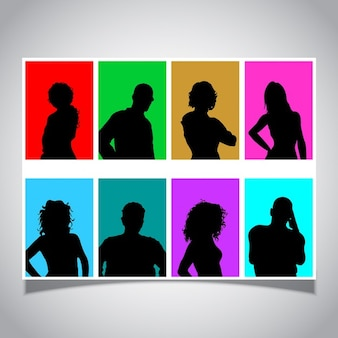 Colorful avatar silhouettes