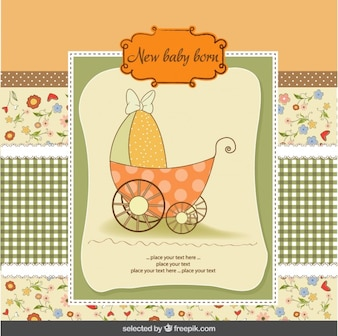 Colorful baby shower card with baby stroller