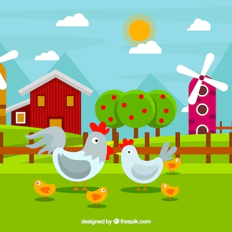Colorful background of chickens on a farm