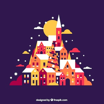 Colorful background of christmas village in flat design