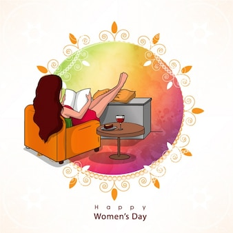 Colorful background of girl reading for women's day