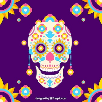 Colorful background of mexican skull in flat design