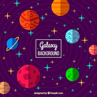 Colorful background of planets in flat design and stars