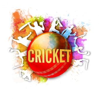 クリケットのボールと選手のシルエットとカラフルな背景