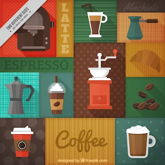 Colorful background with different types of coffee and coffee makers