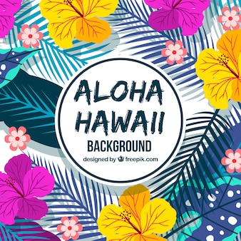 Colorful background with flowers and palm leaves