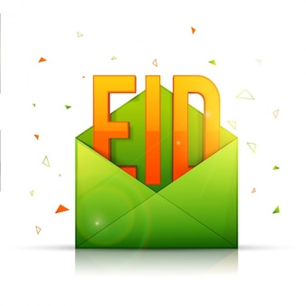 Colorful background with green envelope