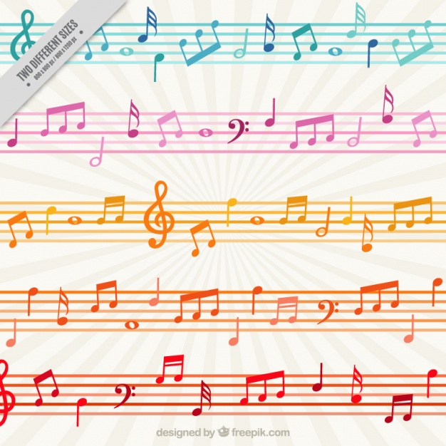Colorful background with musical notes and staves