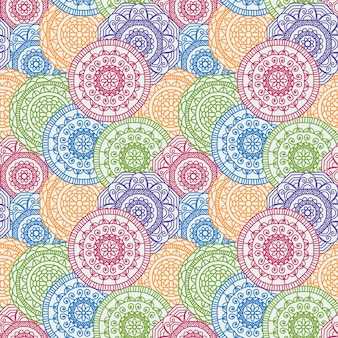 Colorful background with pattern of circular mandalas