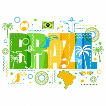 Colorful background with representative elements of brazil