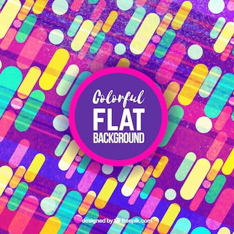 Colorful background with shapes in flat design