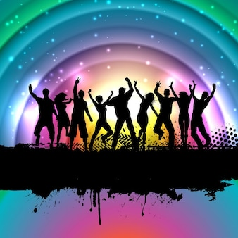 Colorful background with silhouettes of people dancing