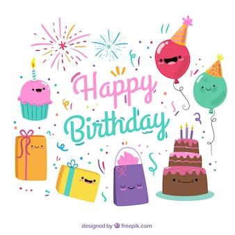 Colorful background with smiling birthday items