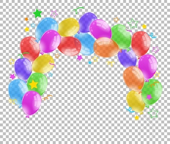 Colorful balloons on transparent background