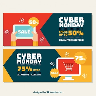 Colorful banners in flat style for cyber monday