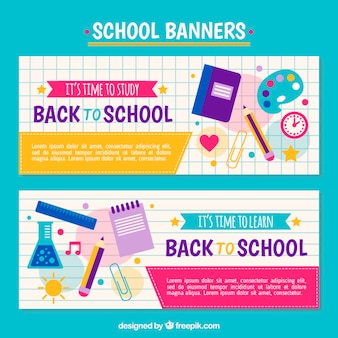 Colorful banners of back to school