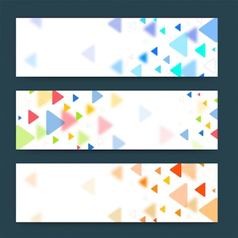 Colorful banners or headers with various triangles. Vector banners ready for your text or design.