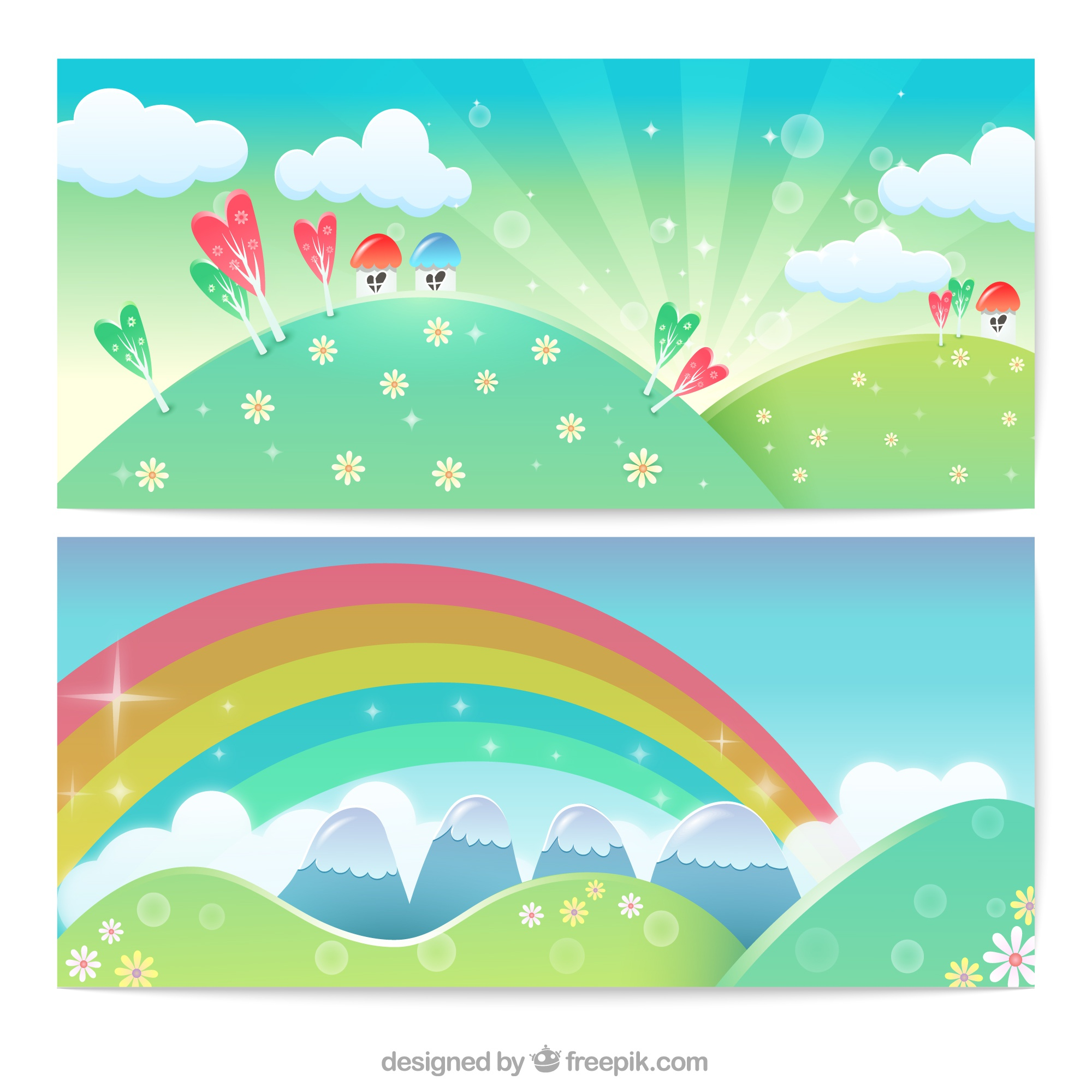 Colorful banners with cartoon meadows