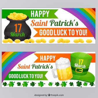 Colorful banners with decorative rainbow for st patrick's day
