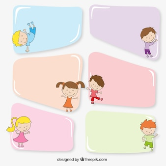 Colorful banners with kids