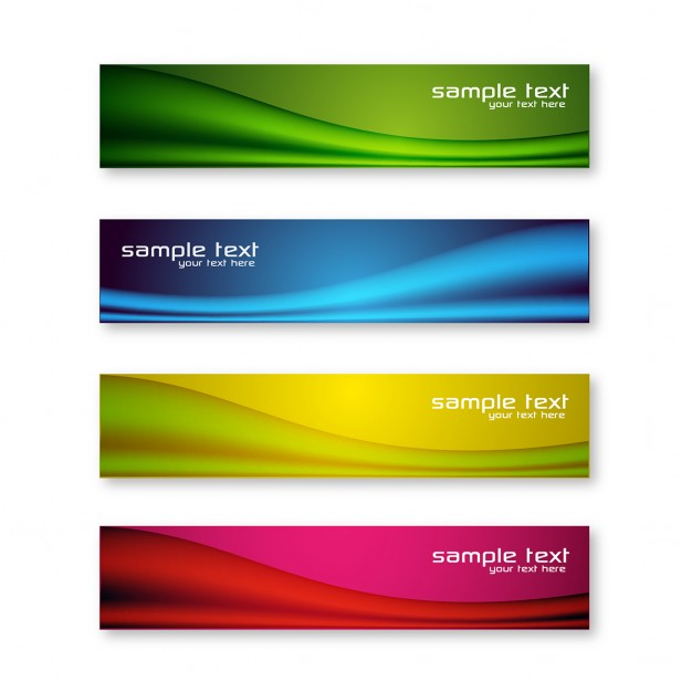 Colorful banners with wavy lines