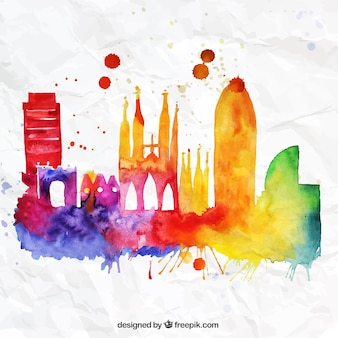 Colorful Barcelona skyline