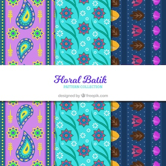 Colorful batik patterns of abstract flowers