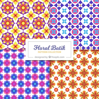 Colorful batik patterns of geometric flowers