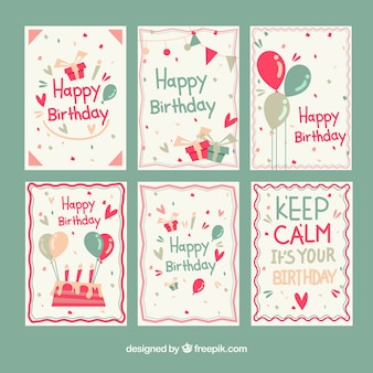 Colorful birhtday cards collection