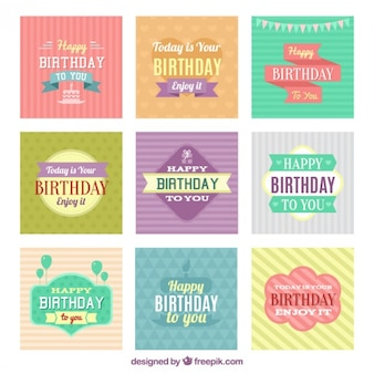 Colorful birthday cards collection