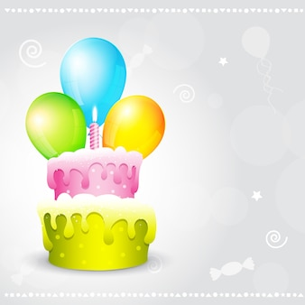 Colorful birthday design with cake