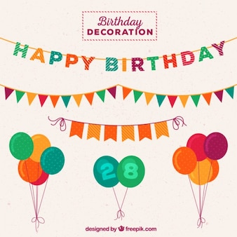 Colorful birthday elements for decoration