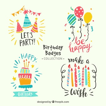 Colorful birthday stickers pack in retro style