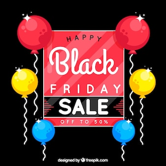Colorful black friday design with balloons