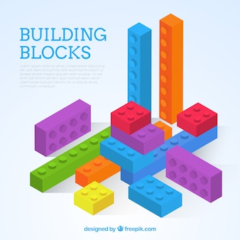 Colorful blocks in isometric style background
