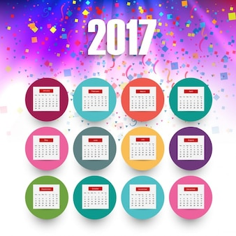 Colorful bright 2017 calendar