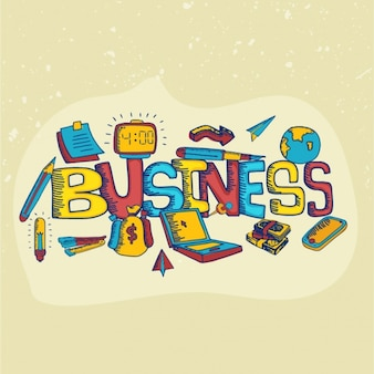 Colorful business background with hand-drawn items