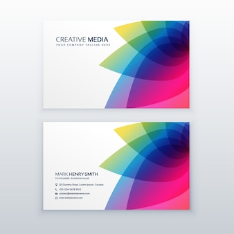 Colorful business card design with abstract petal style