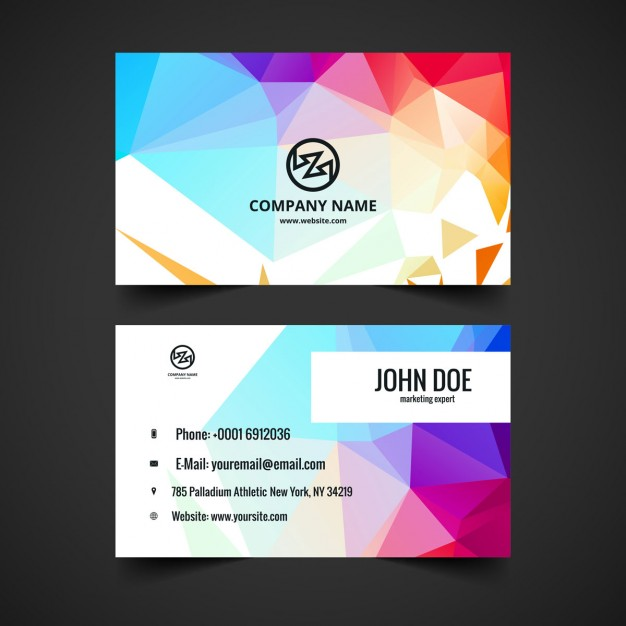Colorful business card in polygonal style